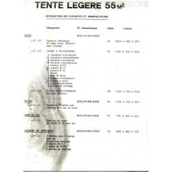 Désignation des éléments et nomenclature tente légère 55m2