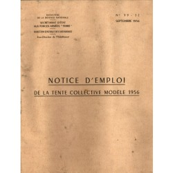 Notice d'emploi de la tente collective 1956